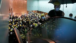 Protesters filled the halls of the Legislative Council building