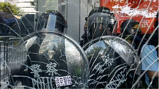 Riot police faced-off against protesters