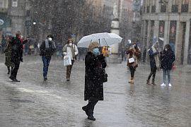 Schnee in Madrid, erstmals seit vielen Jahren, Madrid, Spanien, 7.1.2021
