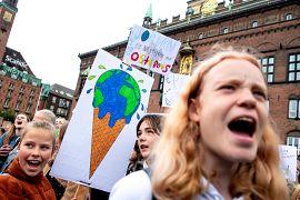 People hold placards during the Global Climate Strike at Raadhuspladsen in Copenhagen, Denmark September 20, 2019.
