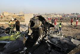 Debris of Ukrainian plane is seen at the site of its crash near Tehran, Iran, 8 January, 2020
