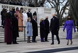 President Joe Biden and Vice President Kamala Harris arrive at the Tomb of the Unknown Soldier at Arlington National Cemetery during Inauguration Day ceremonies