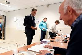Dutch Prime Minister Mark Rutte votes in The Hague