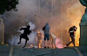 Protesters clash with Serbian riot police in Belgrade, Serbia. July 8, 2020