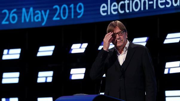 Guy Verhofstadt speaks at the European election results night
