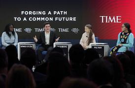 Swedish environmental activist Greta Thunberg with Autumn Peltier, Salvador Gomez-Colon and Natasha Mwansa address the World Economic Forum in Davos, Switzerland.