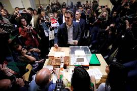 Ciudadanos' (Citizens) candidate Albert Rivera casts his vote.