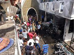 The scene outside the Zion Church in Batticaloa