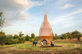 The Warka Water captures droplets from high humidity in the air