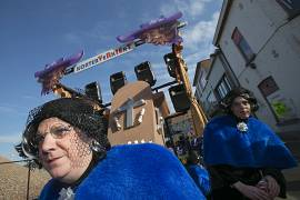 Revellers dressed as late Queen Fabiola take part in the 87th carnival parade of Aalst February 15, 2015.