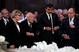 L'ancien président Valery Giscard d'Estaing, l'émir du Qatar  Tamim ben Hamad Al Thani et le Prince Albert de Monaco à la cérémonie funéraire de Jacques Chirac à Paris
