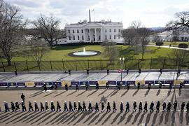 Members of the U.S. Military line up outside the White House before the Presidential Escort, part of Inauguration Day of President Joe Biden and Vice President Kamala Harris