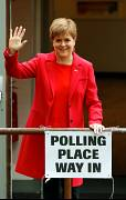 Scotland's First Minister Nicola Sturgeon votes in Glasgow