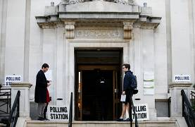 Polling station in Islington, London, UK
