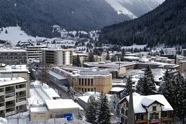 Snow covers the hills around Davos, Switzerland, The city is hosting the 50th annual meeting of the World Economic Forum from 20 January until 24 January 2020