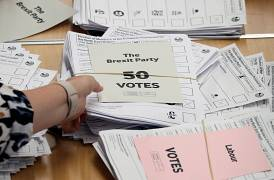 Ballots are seen at a counting centre in Sunderland, Britain