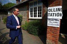 Brexit Party leader Nigel Farage votes in Biggin Hill, Britain, May 23, 201