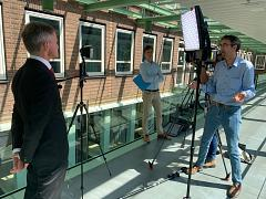 Euronews reporter Hans von der Brelie interviewing Sandor Gaastra, director general at the Dutch Ministry of Economics and Climate in The Hague (Den Haag)