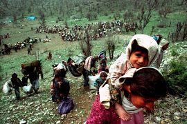 آوارگان کرد در مرز عراق با ترکیه در سال ۱۹۹۲