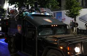 Serbian security forces are deployed during clashes with protesters in Belgrade, Serbia. July 8, 2020