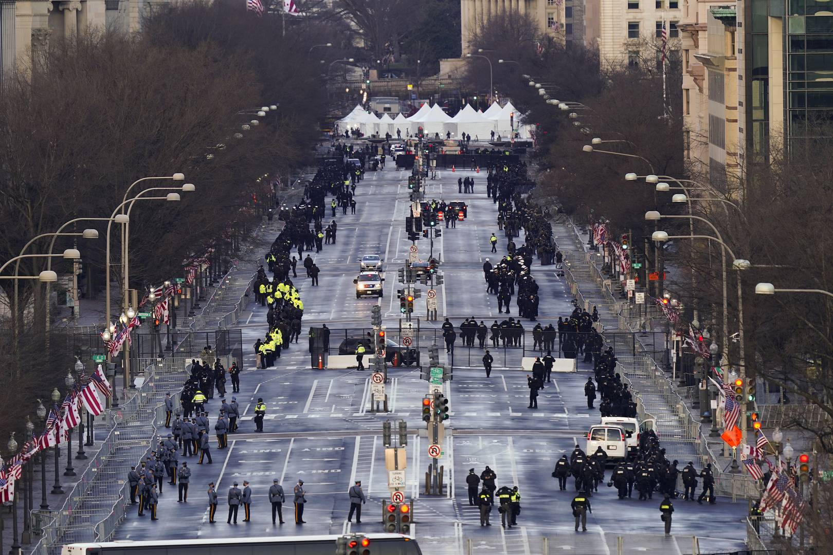 Security is set up along Pennsylvania Avenue before the 59th Presidential Inauguration at the U.S. Capitol in Washington. January 20, 2021