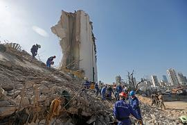 Russian rescue teams search for survivors at Beirut port on August 7, 2020, three days after a massive blast there shook the Lebanese capital