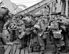 British troops disembark from the Canadian navy infantry landing ship HMCS