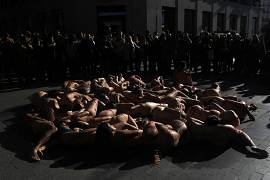 Animal rights activists Anima Naturalis stage a naked protest against the use of leather and fur in the textile industry in Madrid, Spain, Sunday, 12 January, 2020.