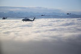 Marine One carrying President Donald Trump travels to the Davos landing zone to attend the World Economic Forum, 21 January 2020.