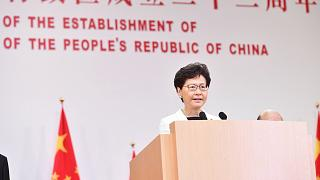 Carrie Lam spoke ahead of the flag-raising ceremony