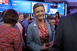 EU Competition Commissioner Margrethe Vestager arrives at the Plenary Hall