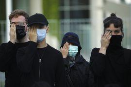 Des manifestants protestent contre les violences à Hong Kong devant la chancellerie à Berlin en Allemagne le 05 septembre 2019