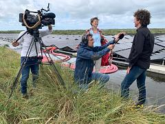 Strong wind... and Euronews reporter Hans von der Brelie interviewing renewable energy entrepreneur Nicol Schermer on the sunny Dutch island of Texel