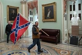 A supporter of US President Donald Trump enter the US Capitol in Washington, USA. January 6, 2021
