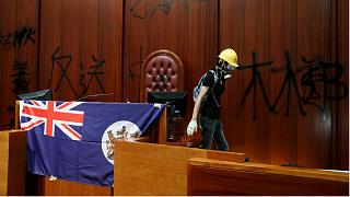 Protesters overrun the parliament chamber