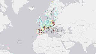 European Air Quality Index, screenshot della mappa