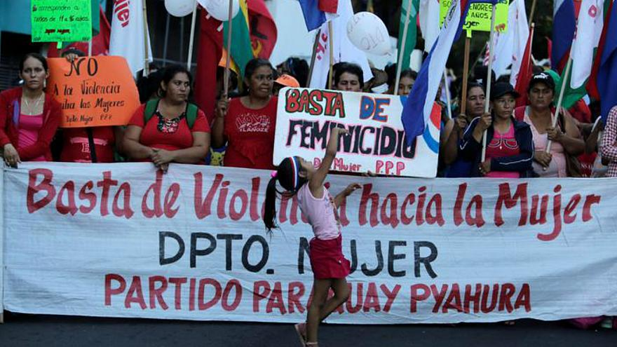 Paraguayan activists protest to demand the end of violence against women