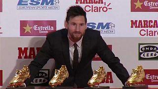 Leo Messi recibe su cuarta Bota de Oro