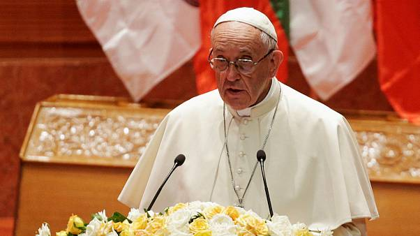 Pope Francis delivering his speech in Myanmar