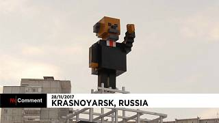 Памятник Ленину в стиле Minecraft