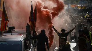 Around 20,000 taxi drivers protested in Madrid