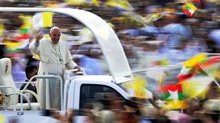 Pope Francis at a public mass in Yangon