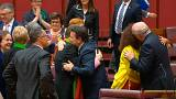 Australian Senators celebrate the approval of same-sex marriage legislation