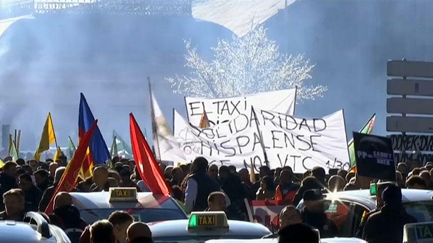 Spanische Taxifahrer im Streik
