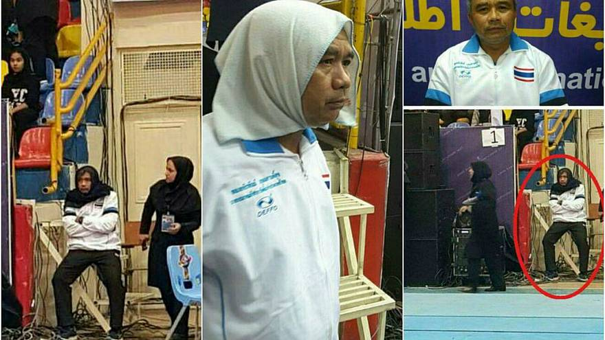 Male kabaddi coach wears headscarf to sneak into women's match in Iran