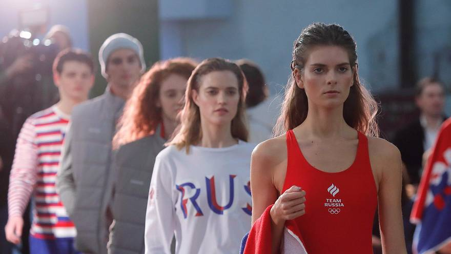 Στιγμή από την παρουσίαση της Ολυμπιακής ενδυμασίας της Ρωσίας