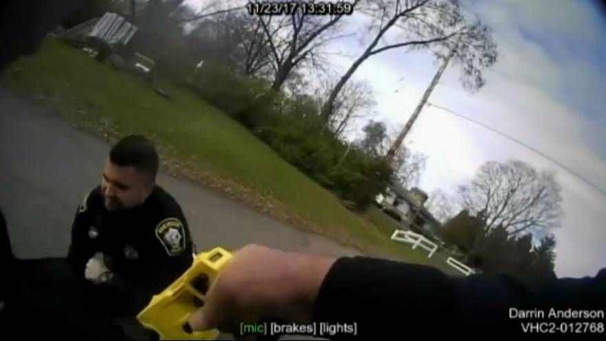US police officer shoots colleague with stun gun by mistake.