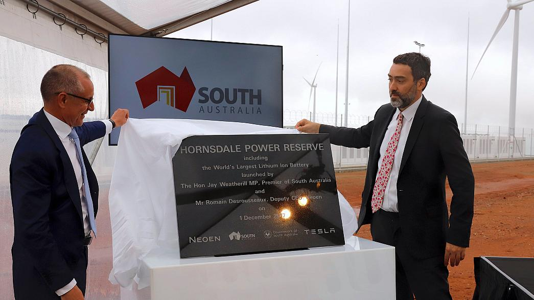 South Australia unveils world's largest lithium-ion battery to feed its grid