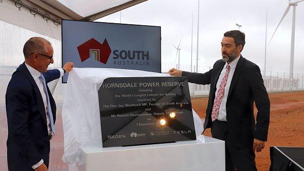 South Australia unveils plaque marking world's largest lithium-ion battery