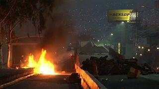 Brennende Reifen in Tegucigalpa